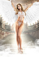 White Softcup Lace/mesh Negligee (disc)